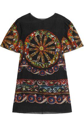 DOLCE & GABBANA Printed crinkled silk-blend jacquard dress