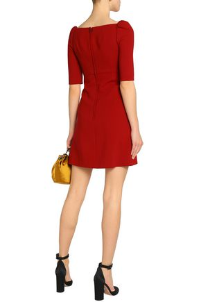 DOLCE & GABBANA Appliquéd wool-blend crepe mini dress