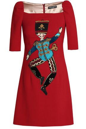 DOLCE & GABBANA Appliquéd wool-blend crepe mini dress
