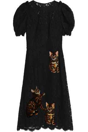 DOLCE & GABBANA Appliquéd corded lace midi dress