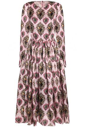 DOLCE & GABBANA Pleated printed silk-blend midi dress