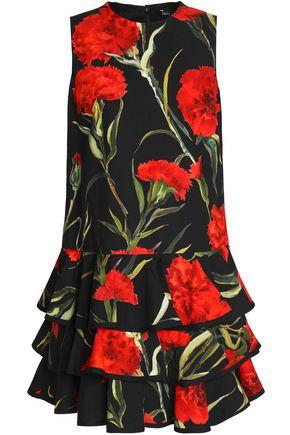 DOLCE & GABBANA Tiered floral-print cotton mini dress