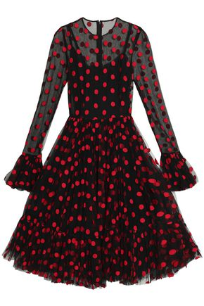 DOLCE & GABBANA Embroidered polka-dot cotton-blend tulle dress