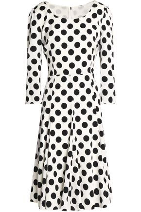 DOLCE & GABBANA Pleated polka-dot silk-blend dress