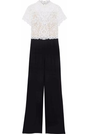 CATHERINE DEANE Juliana guipure lace and crepe jumpsuit