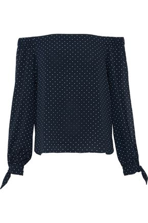 BAILEY 44 Off-the-shoulder polka-dot crepe de chine top