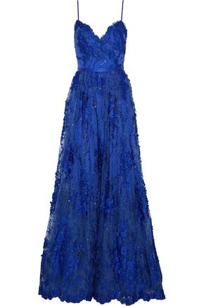 CATHERINE DEANE Josette satin-trimmed embellished tulle gown
