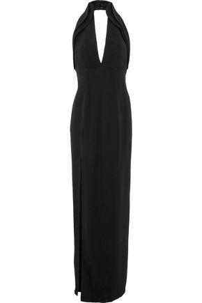 BRANDON MAXWELL Split-front crepe halterneck gown