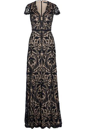 CATHERINE DEANE Jacqueline satin-appliquéd embellished tulle gown