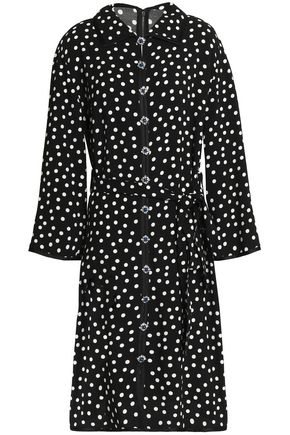 DOLCE & GABBANA Embellished polka-dot crepe shirt dress