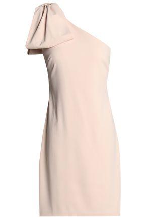 BADGLEY MISCHKA One-shoulder bow-detailed crepe mini dress
