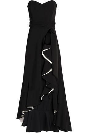 BADGLEY MISCHKA Strapless ruffled crepe gown