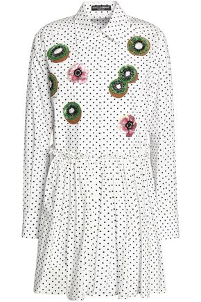 DOLCE & GABBANA Embellished polka-dot cotton-poplin mini shirt dress