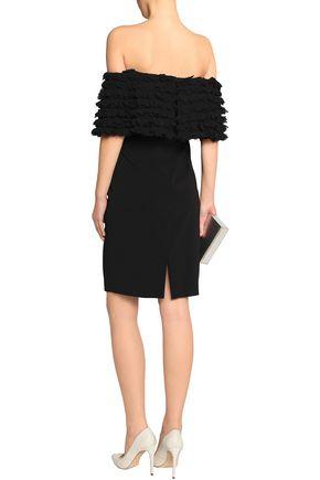 BADGLEY MISCHKA Off-the-shoulder appliquéd crepe dress