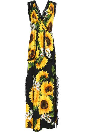 DOLCE & GABBANA Wrap-effect lace-trimmed floral-print crepe maxi dress