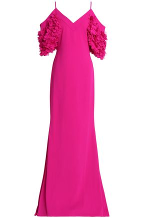 BADGLEY MISCHKA Cold-shoulder appliquéd crepe gown