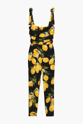 DOLCE & GABBANA Cropped draped printed stretch-silk jumpsuit
