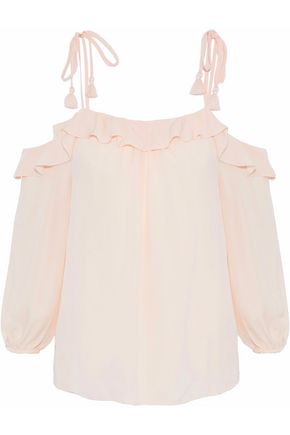 JOIE Eukene cold-shoulder ruffled silk crepe de chine top