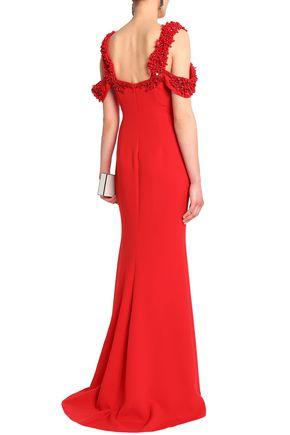 BADGLEY MISCHKA Cold-shoulder embellished crepe gown