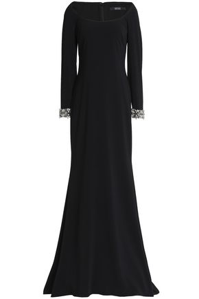 BADGLEY MISCHKA Crystal-embellished crepe gown