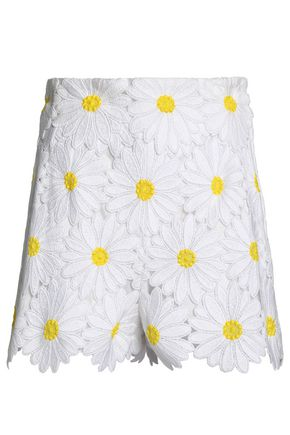 DOLCE & GABBANA Floral-appliquéd cotton-blend tulle shorts