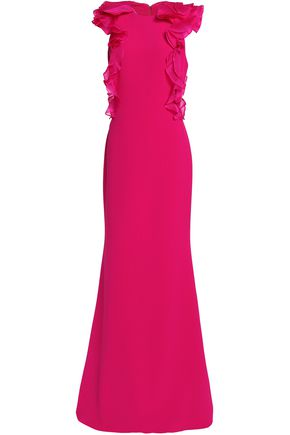 BADGLEY MISCHKA Ruffled organza-trimmed crepe gown