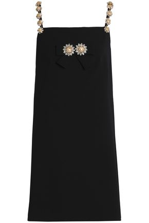DOLCE & GABBANA Crystal-embellished wool-blend mini dress