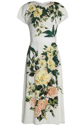 DOLCE & GABBANA Appliquéd floral-print silk-blend midi dress