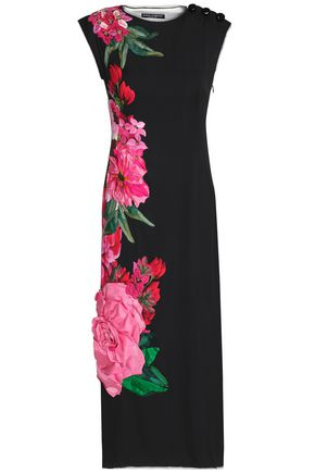 DOLCE & GABBANA Floral-appliquéd stretch-silk midi dress