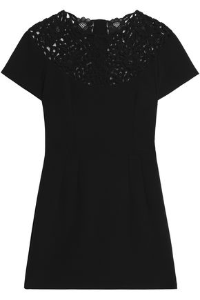 DOLCE & GABBANA Guipure lace-paneled embellished wool-blend mini dress