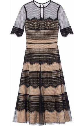 CATHERINE DEANE Point d'espirit and lace midi dress