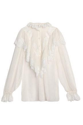 DOLCE & GABBANA Lace-trimmed ruffled silk-blend chiffon blouse