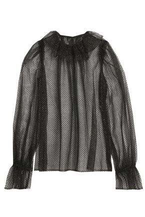 DOLCE & GABBANA Lamé-trimmed ruffled tulle and net blouse