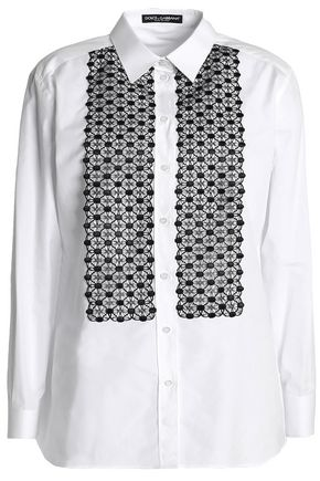 DOLCE & GABBANA Crochet-paneled cotton-blend poplin shirt