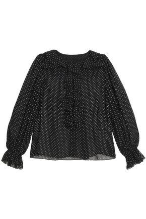 DOLCE & GABBANA Ruffle-trimmed polka-dot chiffon blouse