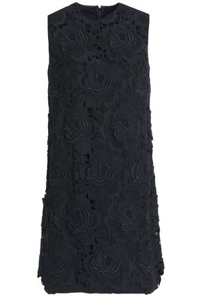 DOLCE & GABBANA Embroidered cashmere and cotton-blend twill mini dress