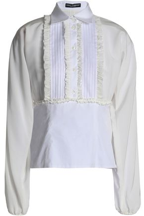 DOLCE & GABBANA Pintucked ruffle-trimmed silk and cotton-blend shirt
