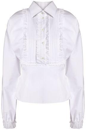 DOLCE & GABBANA Pintucked ruffle-trimmed cotton-blend poplin shirt