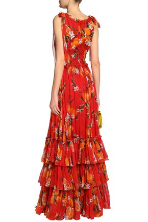 DOLCE & GABBANA Tiered floral-print silk-chiffon gown