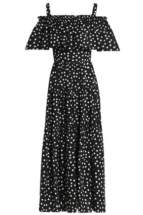 DOLCE & GABBANA Cold-shoulder ruffled polka-dot stretch-cotton mini dress