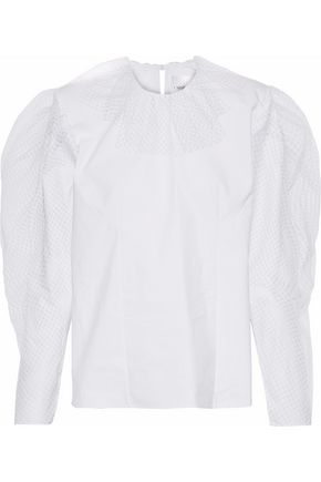 CARMEN MARCH Ruffled tulle-trimmed cotton-poplin blouse
