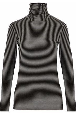 MAJESTIC FILATURES Striped jersey turtleneck top