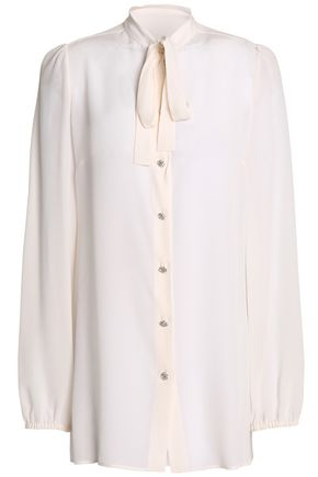 DOLCE & GABBANA Pussy-bow silk-crepe blouse