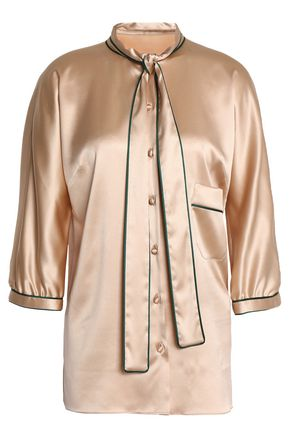 DOLCE & GABBANA Draped silk-blend satin shirt