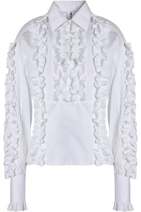 DOLCE & GABBANA Ruffled pintucked cotton-poplin shirt