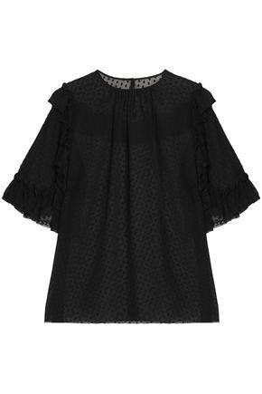 DOLCE & GABBANA Ruffle-trimmed fil coupé silk-blend blouse