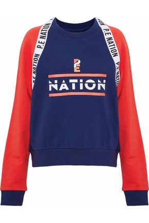 P.E NATION The Wembley printed color-block French cotton-terry sweatshirt