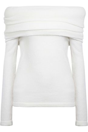 BRANDON MAXWELL Off-the-shoulder gathered wool-blend sweater