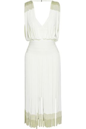 HERVÉ LÉGER Open-back fringed metallic bandage dress