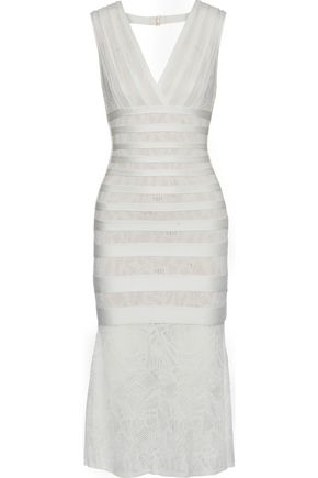 HERVÉ LÉGER Isabela lace-paneled bandage midi dress